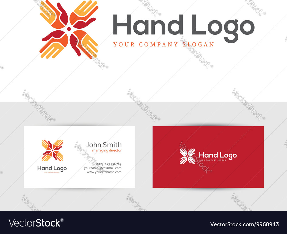 Logo with four hands vector