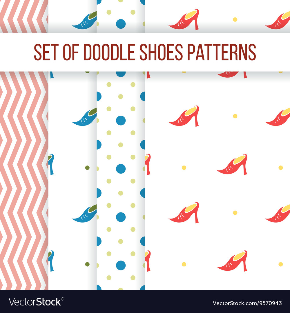 Set of four seamless patterns with women s vector