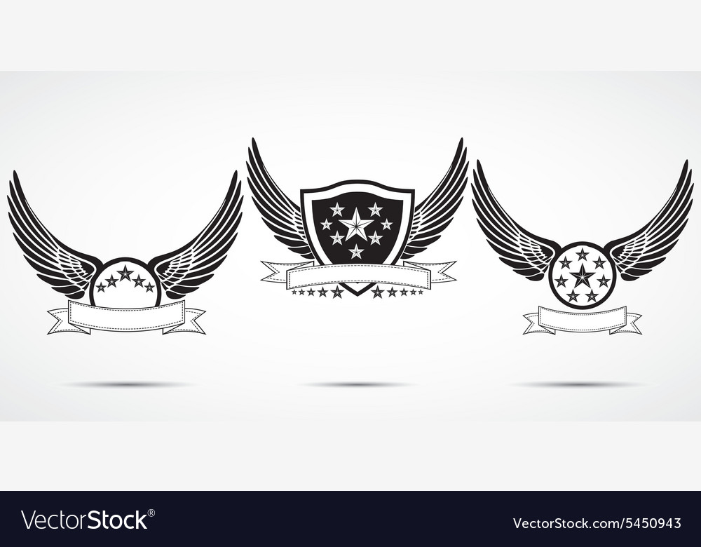 Wing abstract emblem set logo template badge label vector