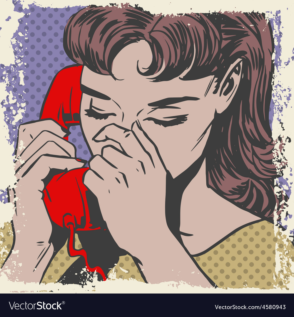 Woman talking on the phone sad pop art comics vector