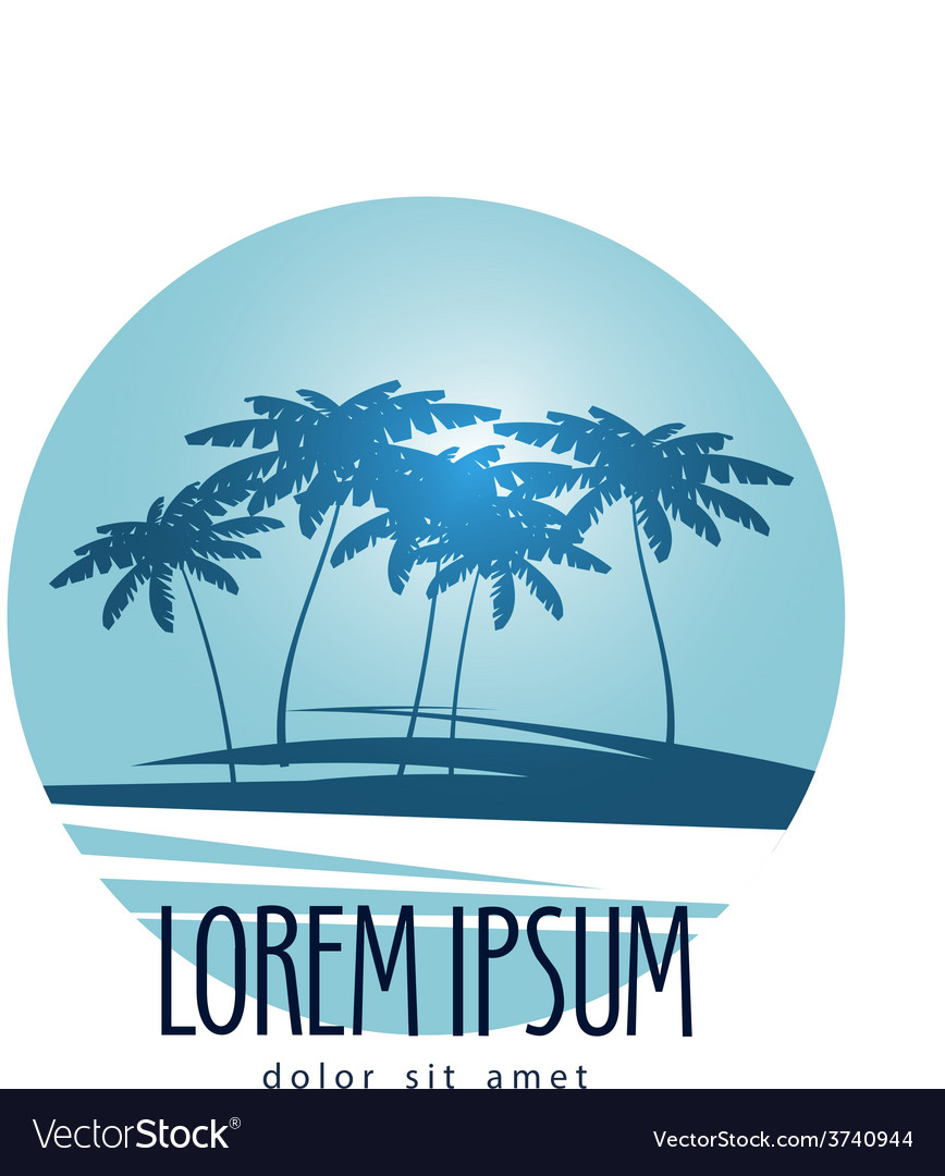 Palm trees logo design template tropical island vector
