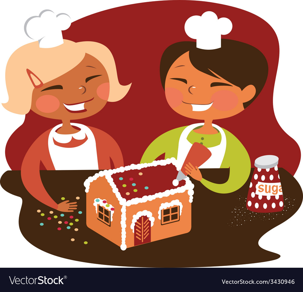 Children making gingerbread house vector