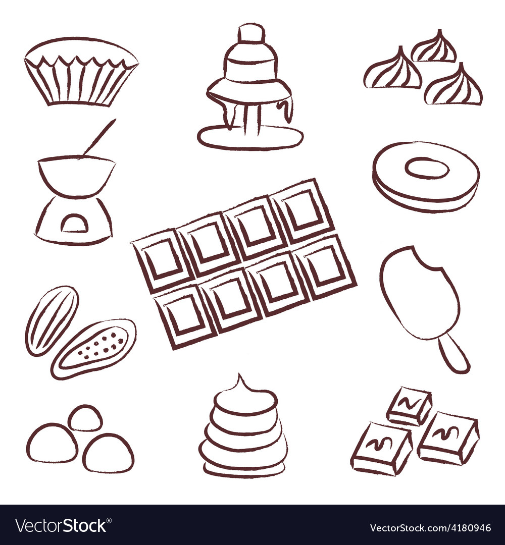 Sweet chocolate doodle sketch icons set eps10 vector