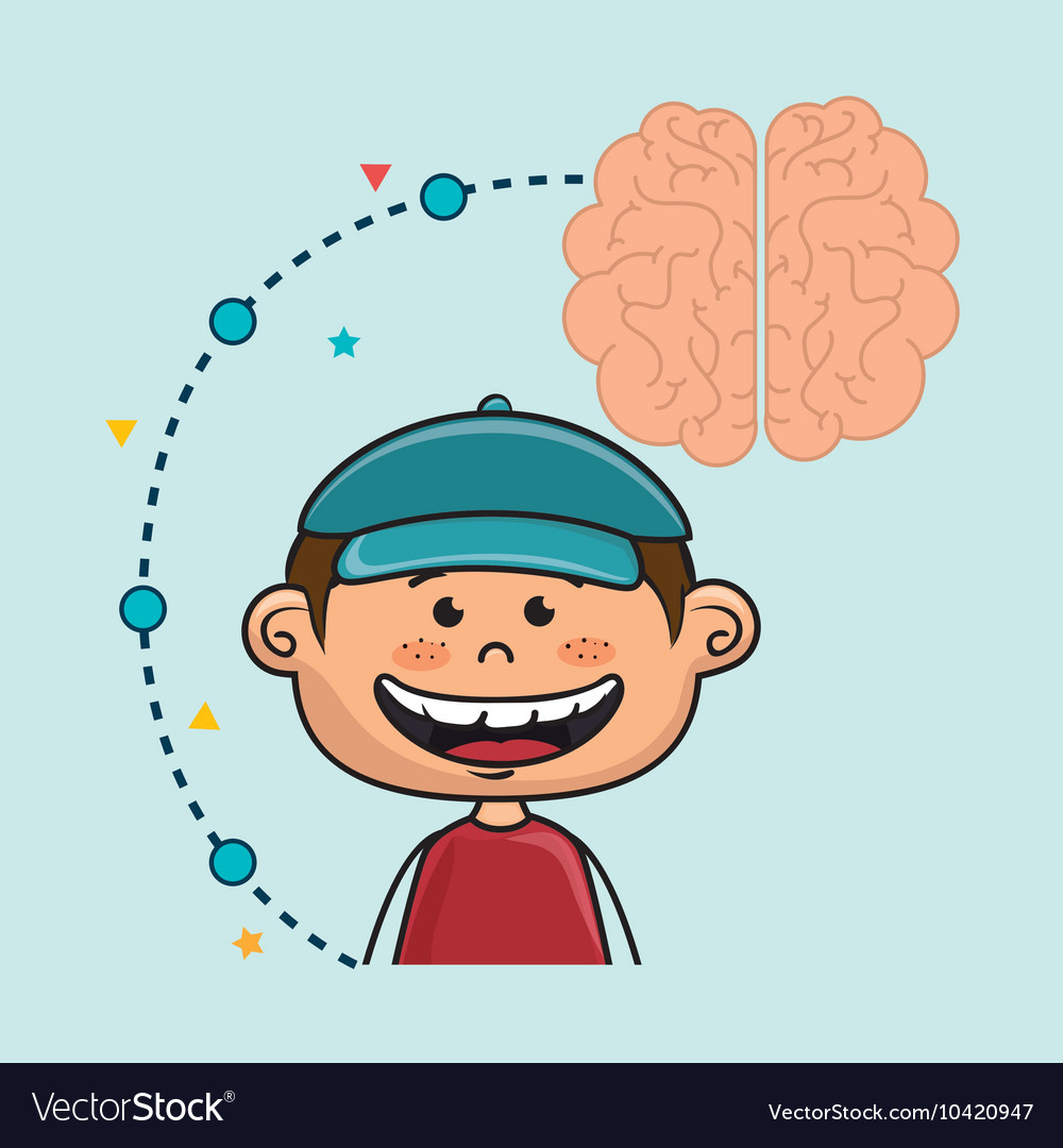 Boy cartoon brain idea vector
