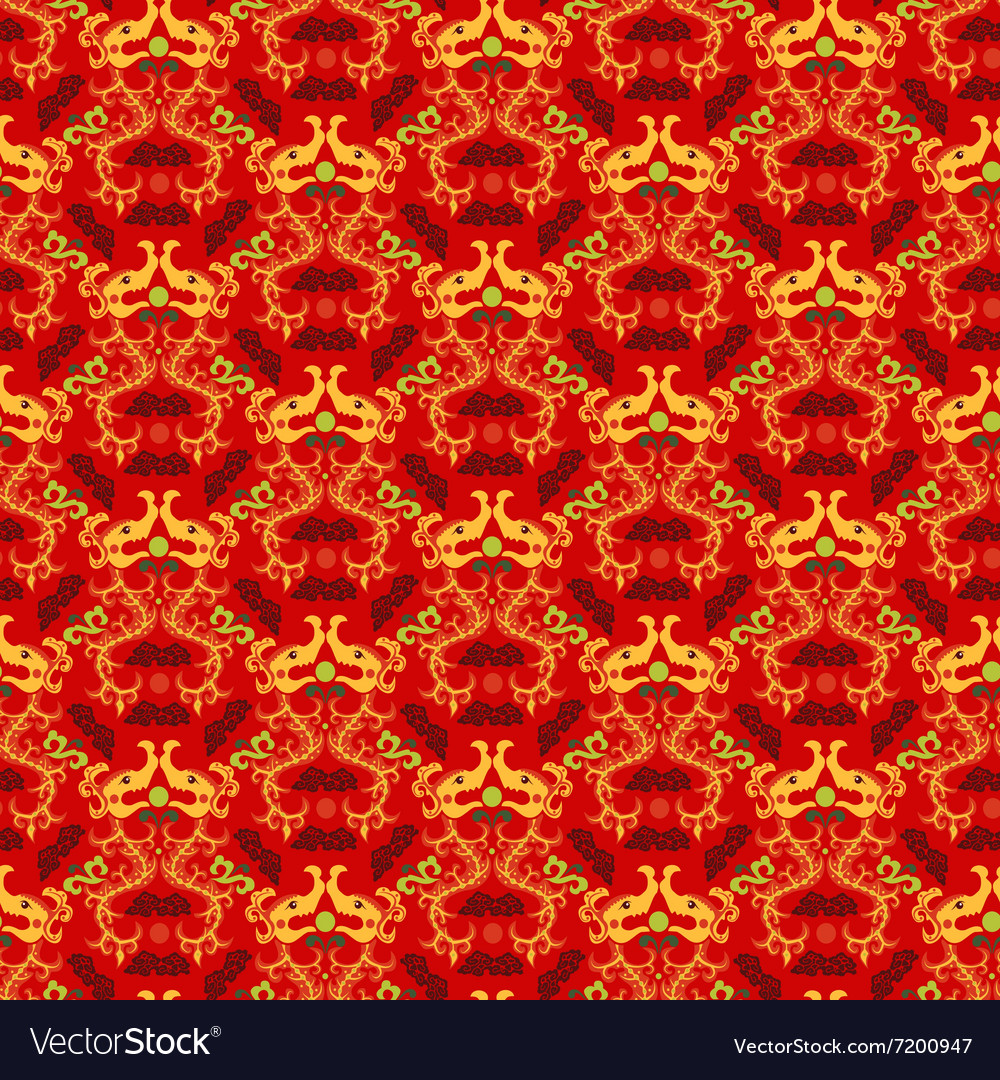 Chinese asian dragon style seamless pattern vector