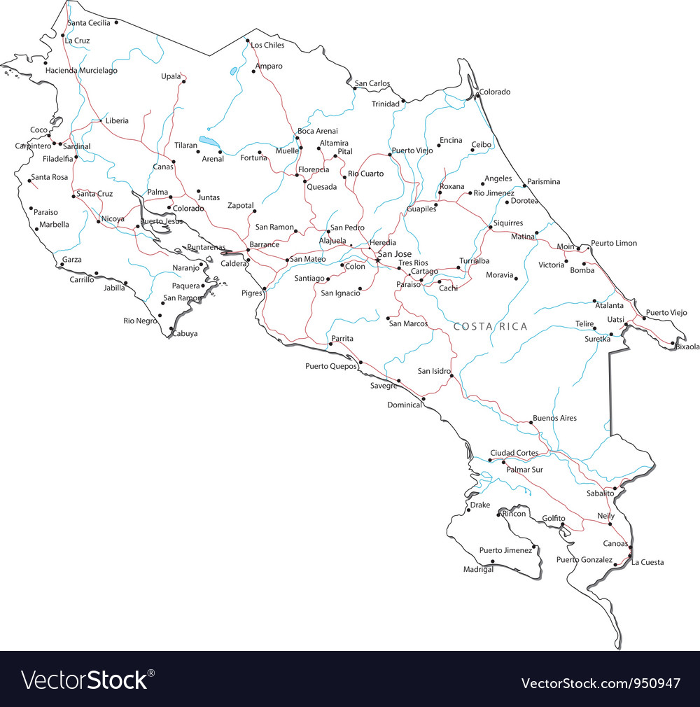 Costa rica black white map vector