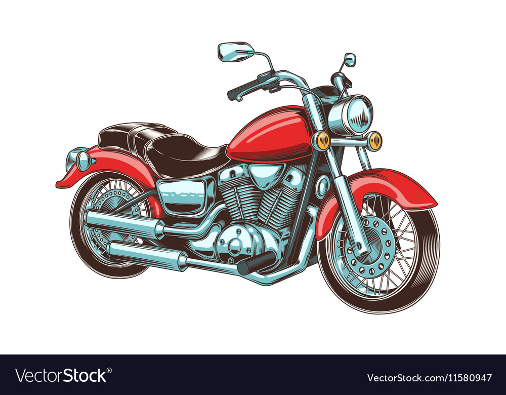 Handdrawn vintage motorcycle classic chopper vector