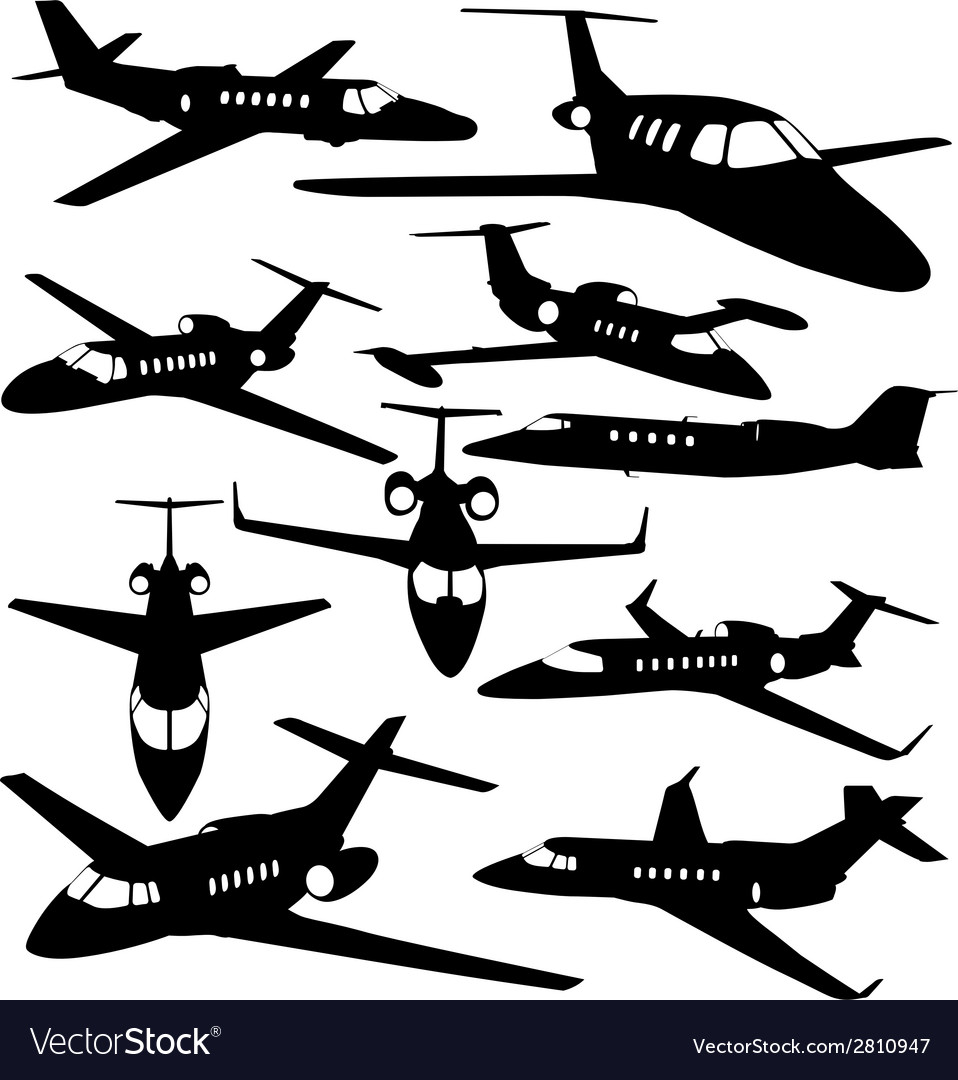 Silhouettes of private jet  contours of airplanes vector