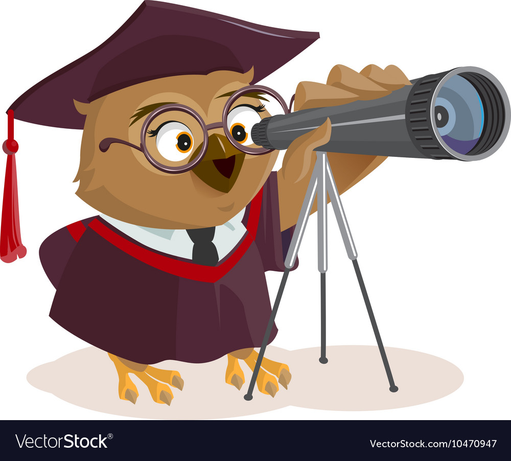 Teacher owl looks through telescope vector