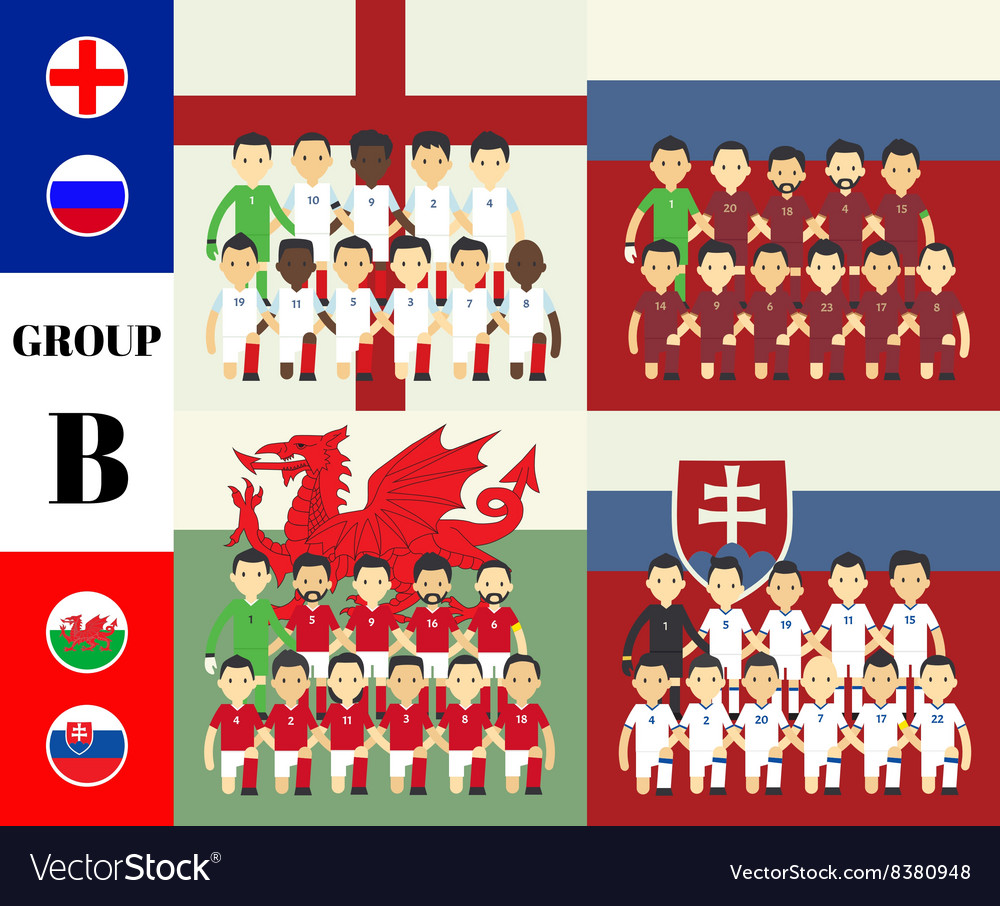 Players with flags group b vector