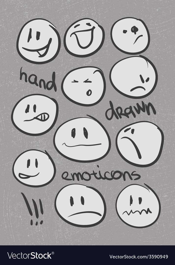 Set of hand drawn emoticons eps8 vector