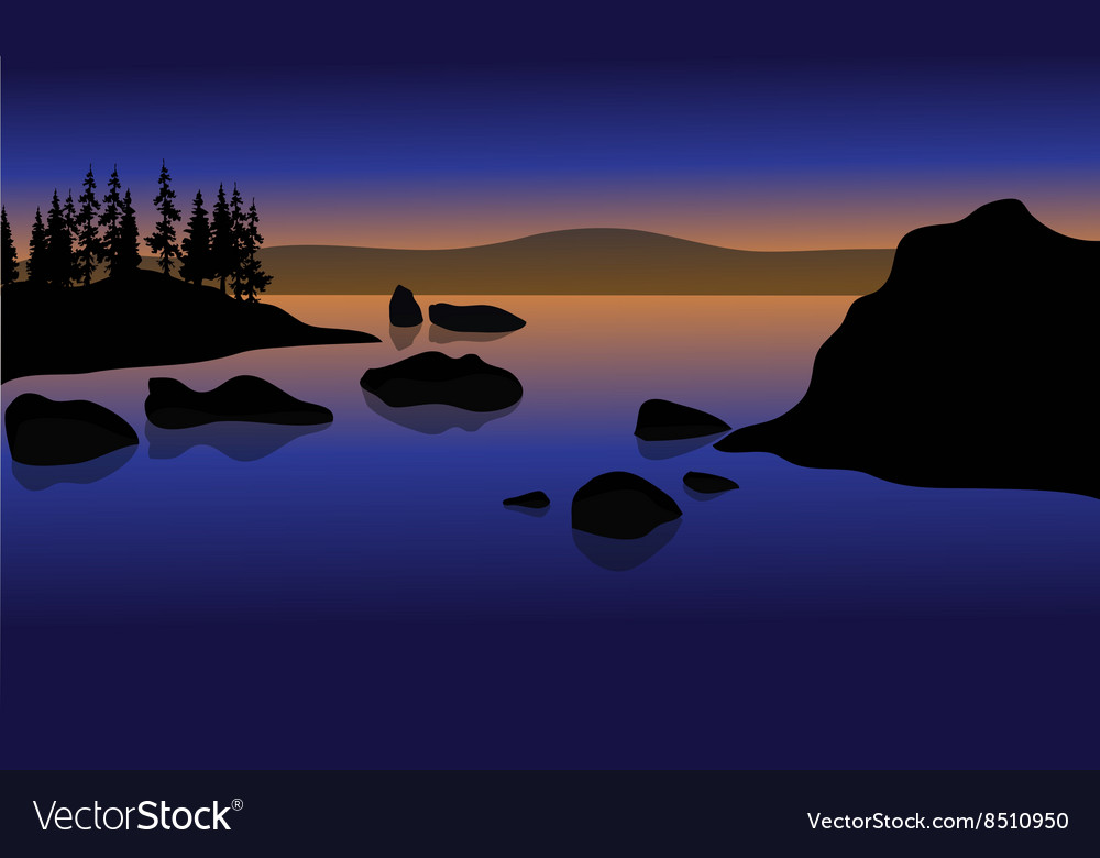 At sunset in beach with rock silhouette vector