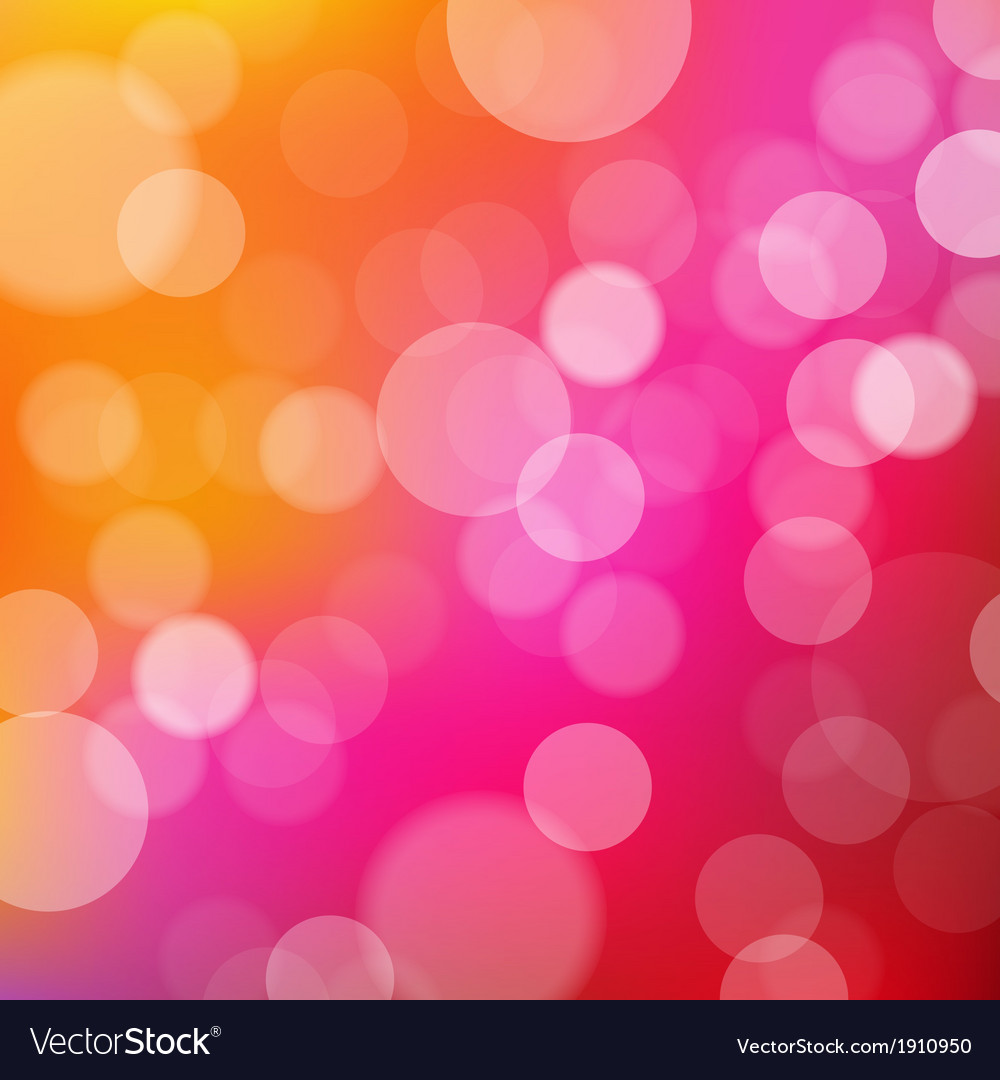 Lights orange and pink background with bokeh vector
