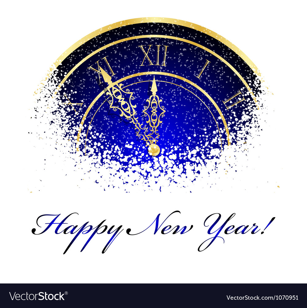 New year snow clock vector