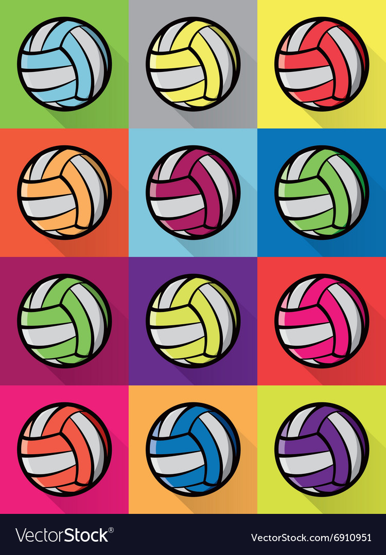 Volleyball colorful pattern vector