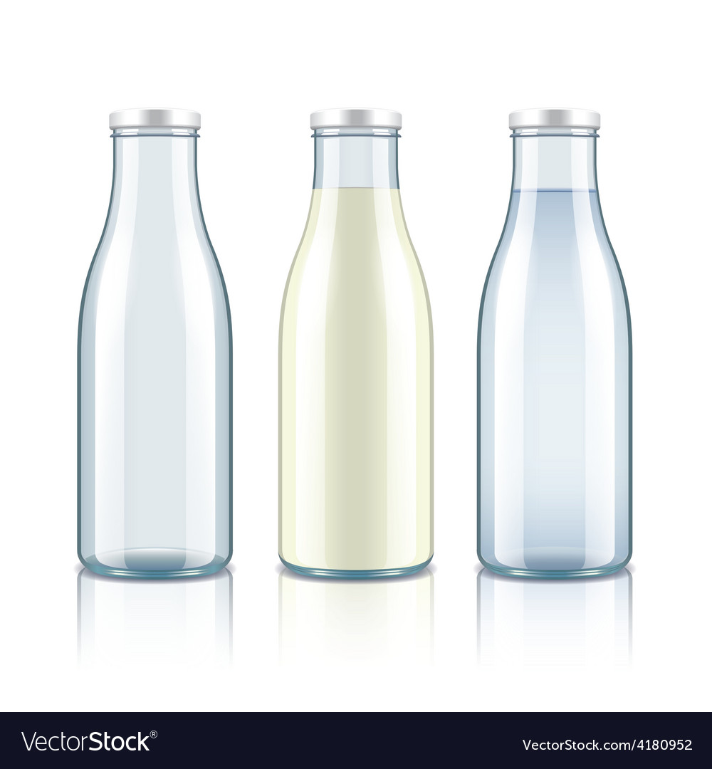 Glass bottle with milk water and empty vector