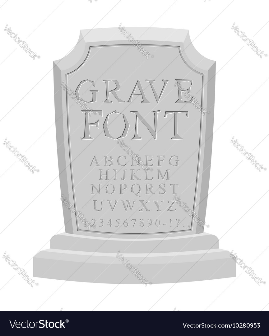Gave font ancient carved on tombstone of abc tomb vector