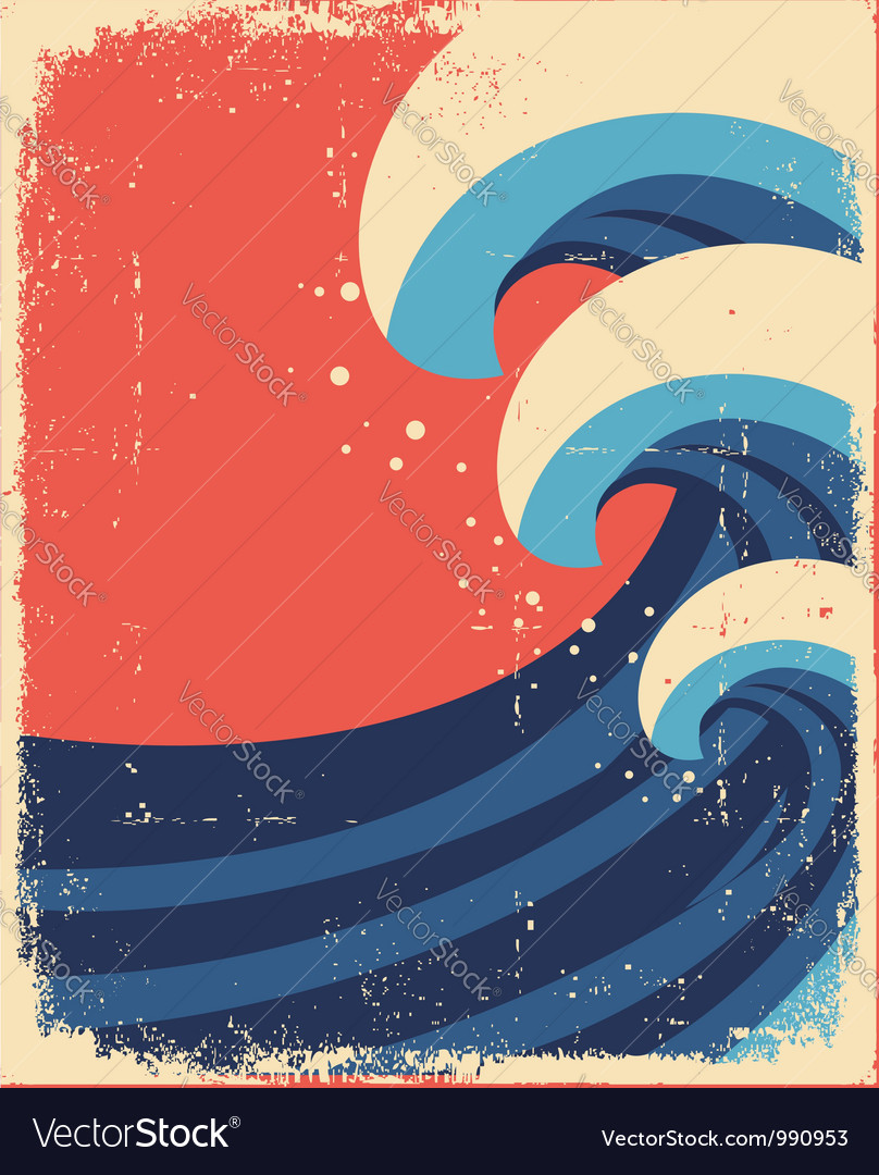 Sea waves postergrunge of sea landscape vector