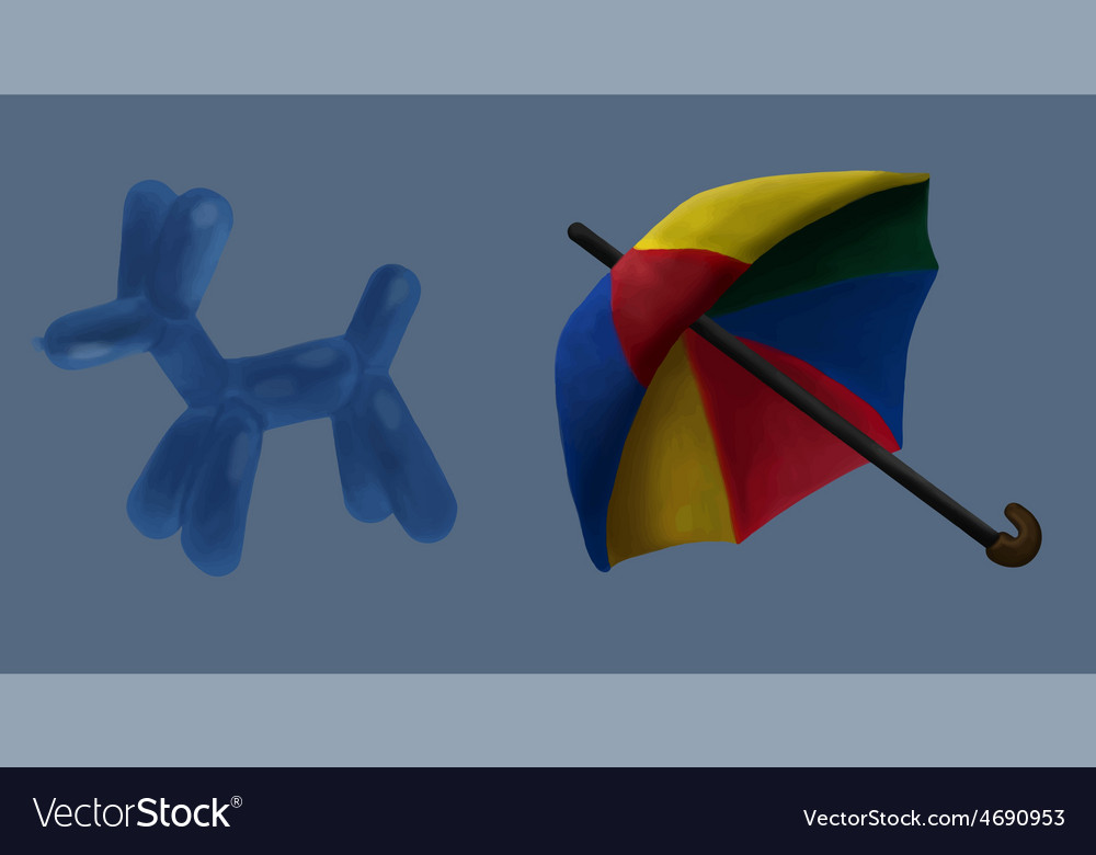 Umbrella and balloon circus vector