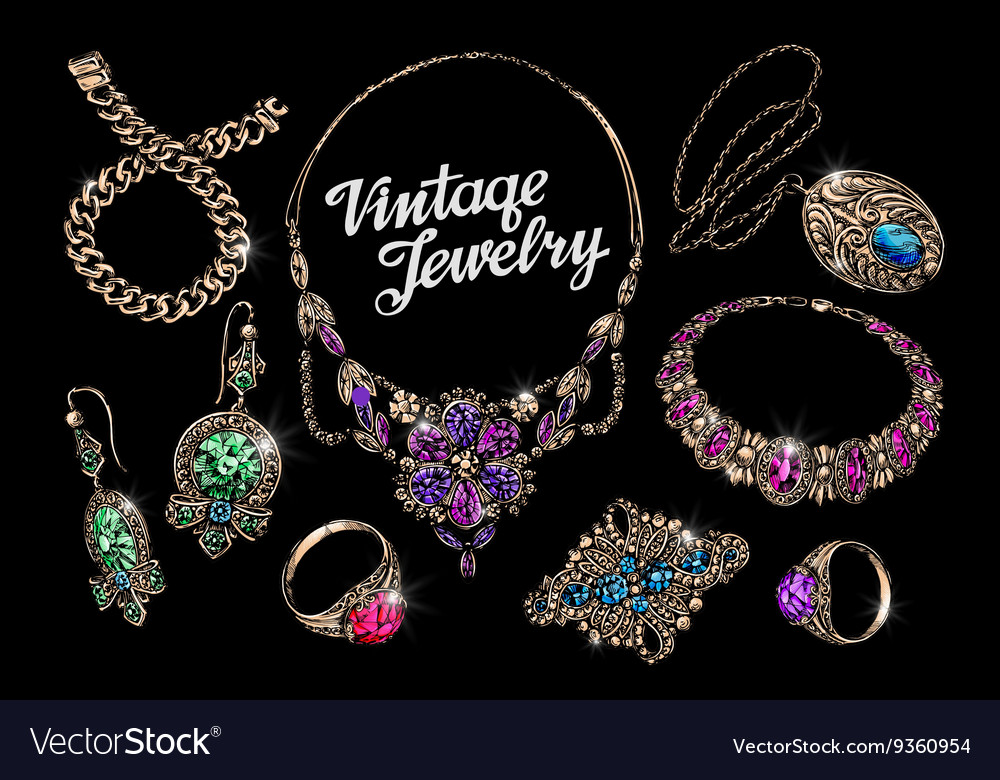 Vintage jewelry with gems handdrawn gold and vector