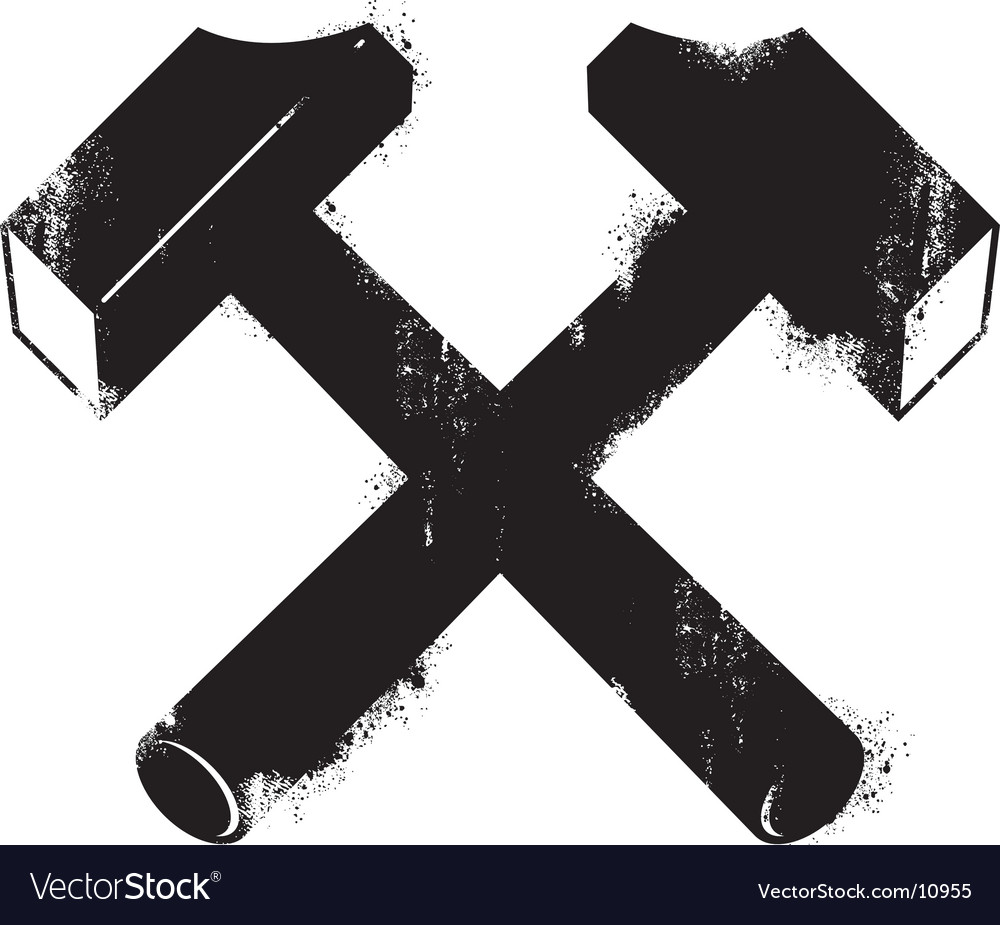 Grunge hammers vector