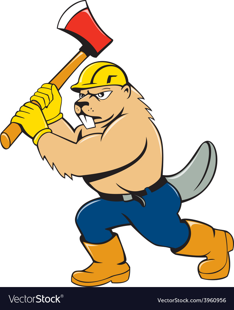 Beaver lumberjack wielding ax cartoon vector