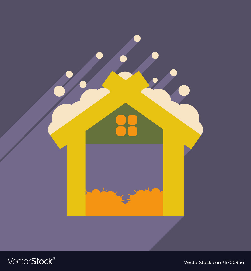Flat icon with long shadow christmas barn vector