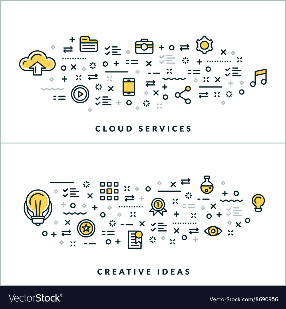 Thin line cloud services and creative ideas vector