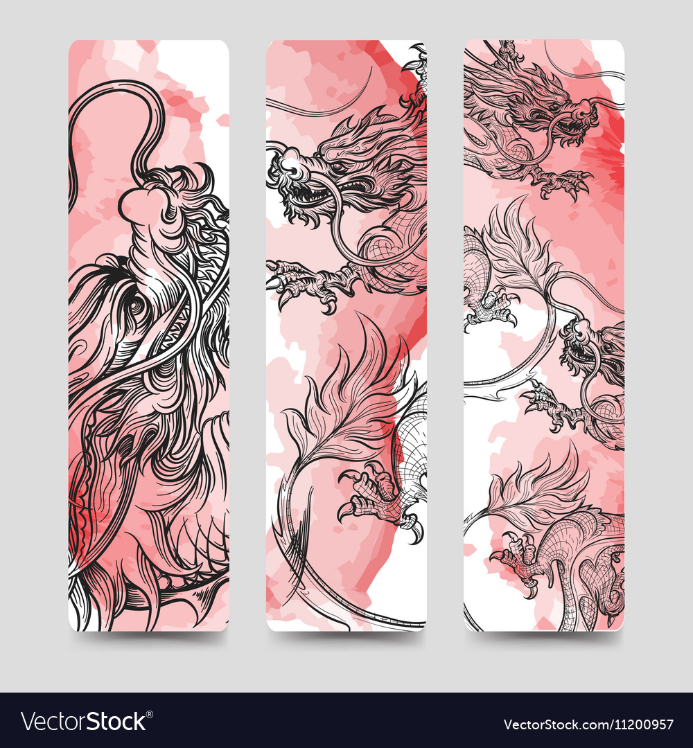 Bookmark set with chinese dragon vector