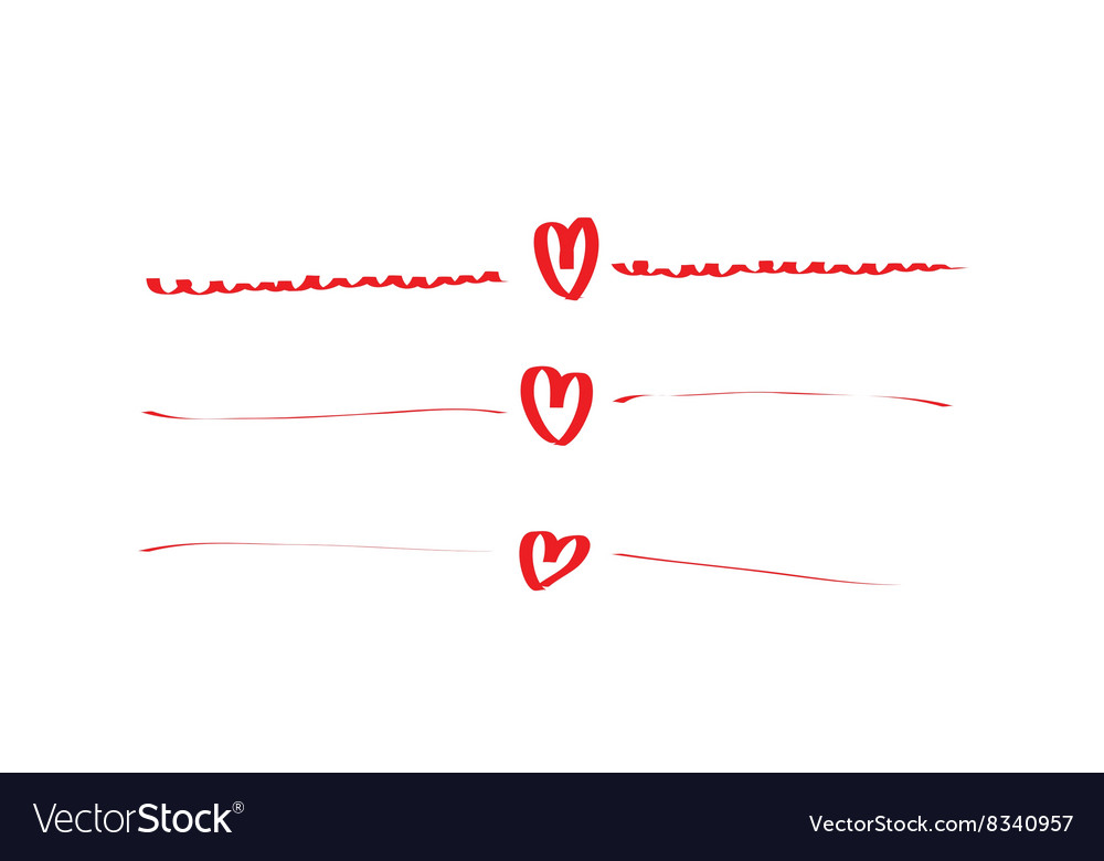 Hand drawn hearts set frame vector