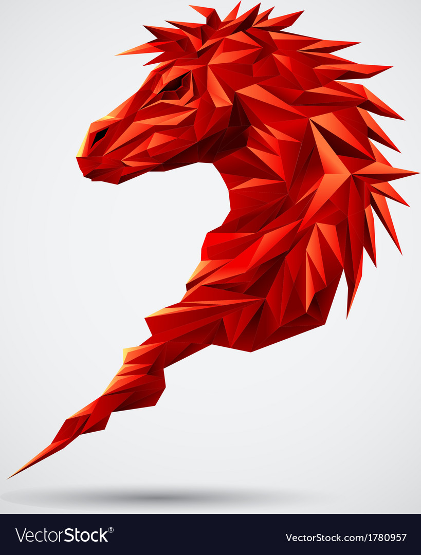Red geometric horse vector