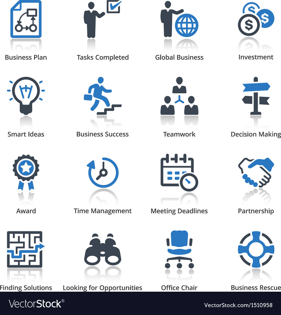 Business icons set 3  blue series vector