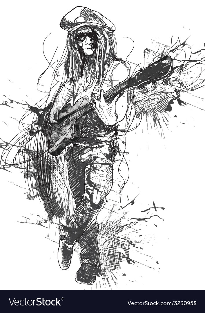 Musician  guitar player vector