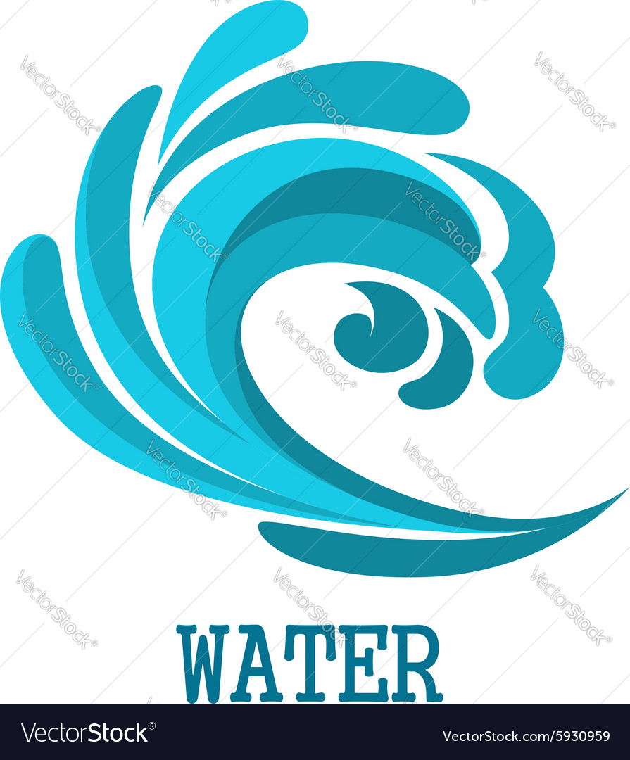 Blue curly ocean wave symbol vector