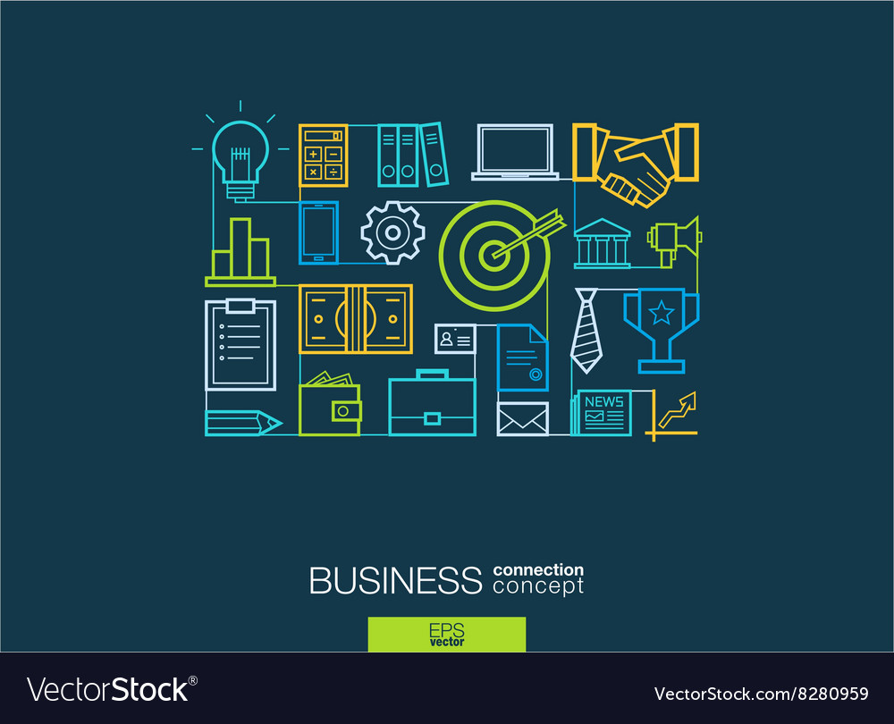 Business integrated thin line symbols modern vector