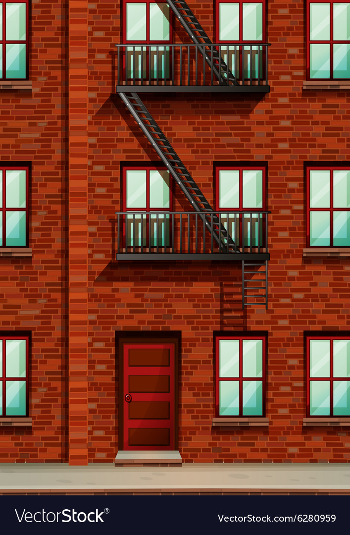 Fire escape on the side of apartment vector