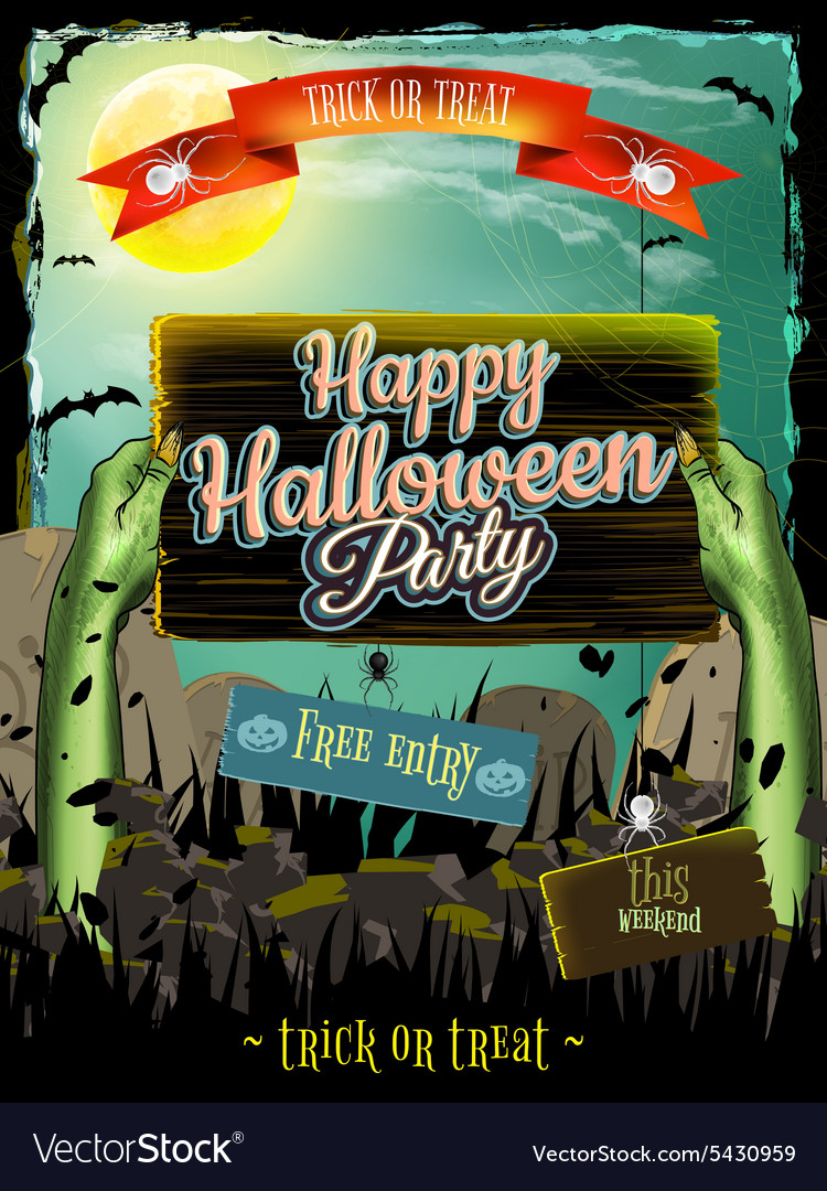 Invitation to zombie party eps 10 vector