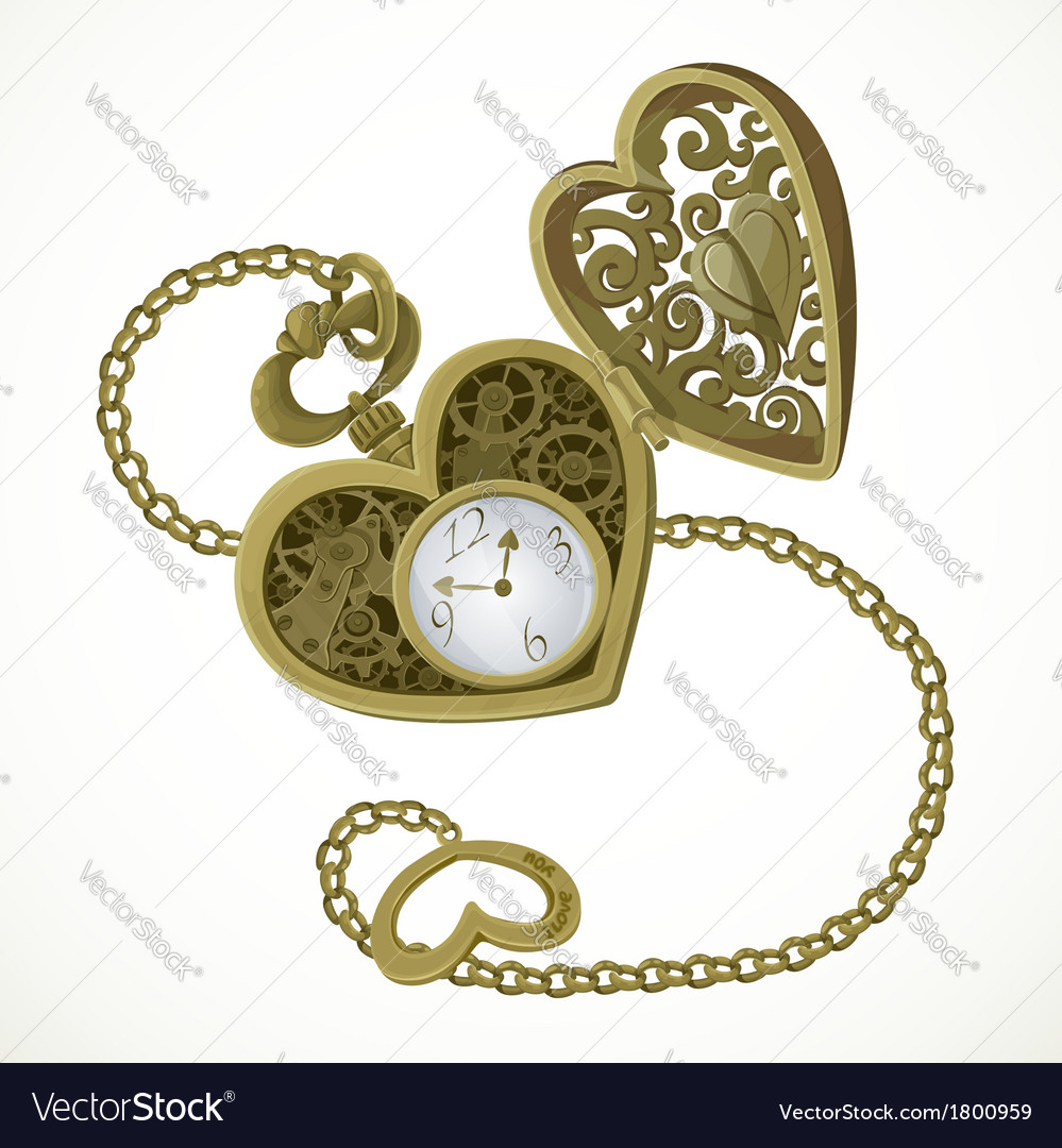Pocket watch in the form of heart vector