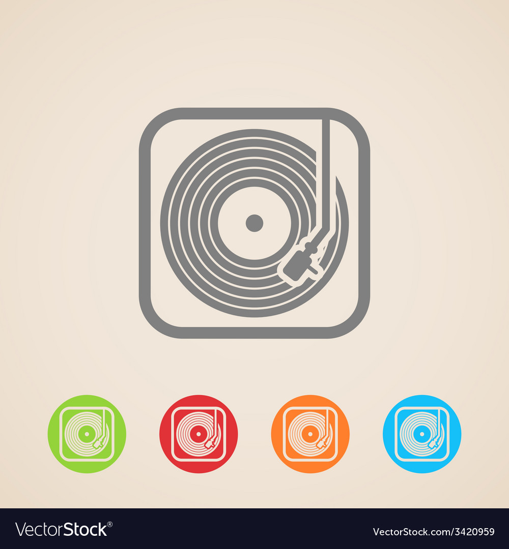 Record player with vinyl record icons vector