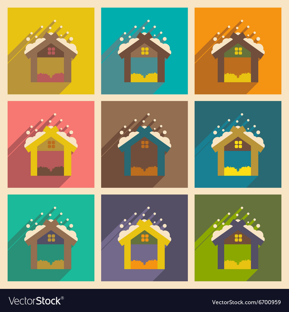Set flat icons with long shadow christmas barn vector