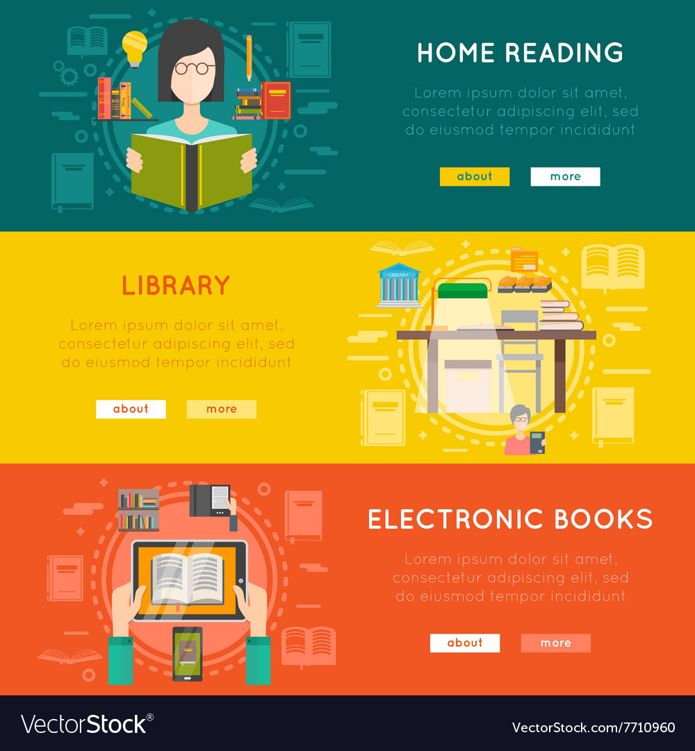 Library banner set vector