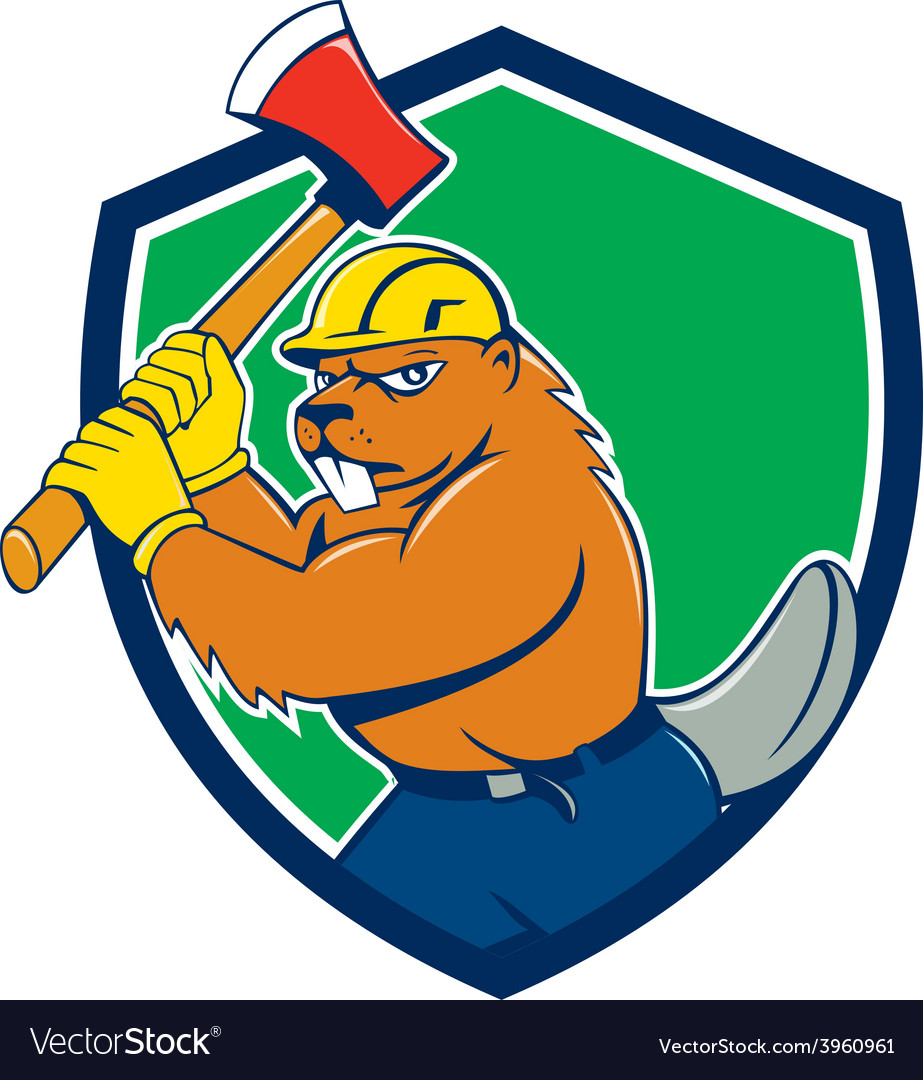 Beaver lumberjack wielding ax shield cartoon vector