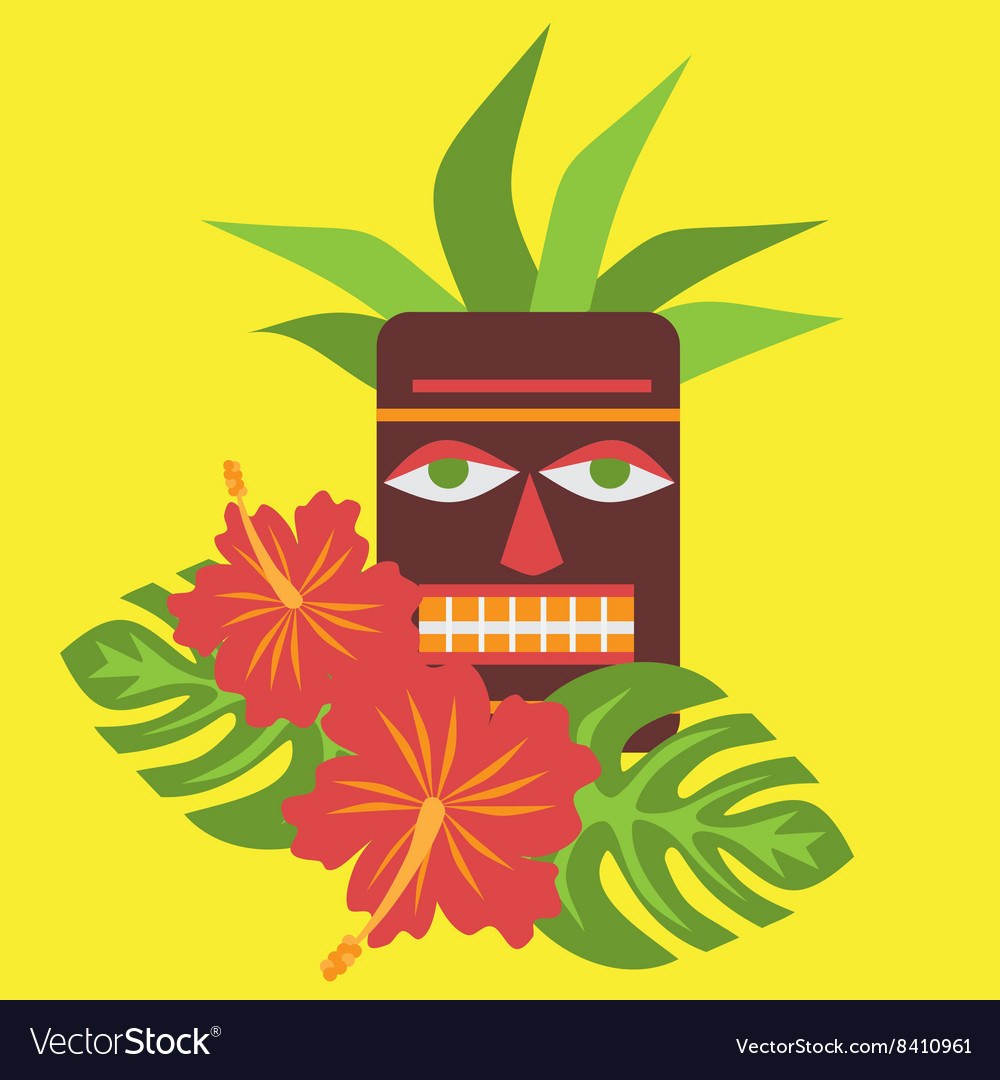 Poster with tropical palm leaves and flowers vector