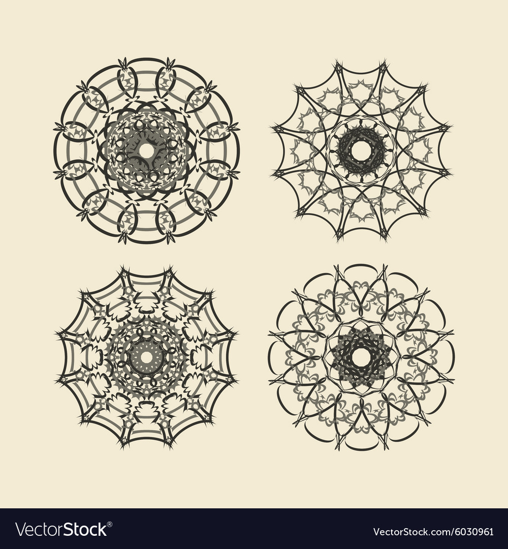 Round ornament set circle and floral ornament vector