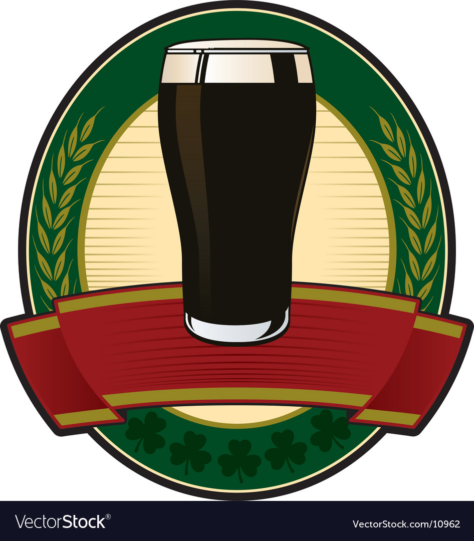 Black beer irish label vector