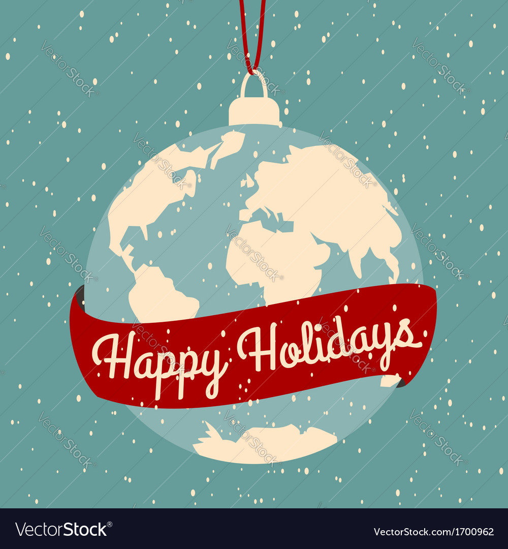 Earth globe christmas greeting card design vector