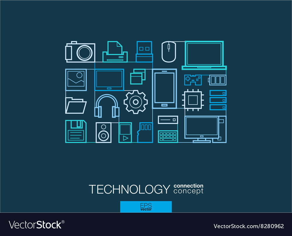 Technology integrated thin line symbols modern vector