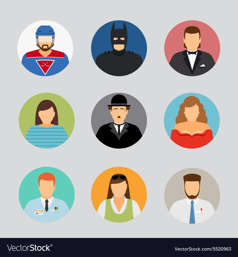 Avatar icons in flat design vector