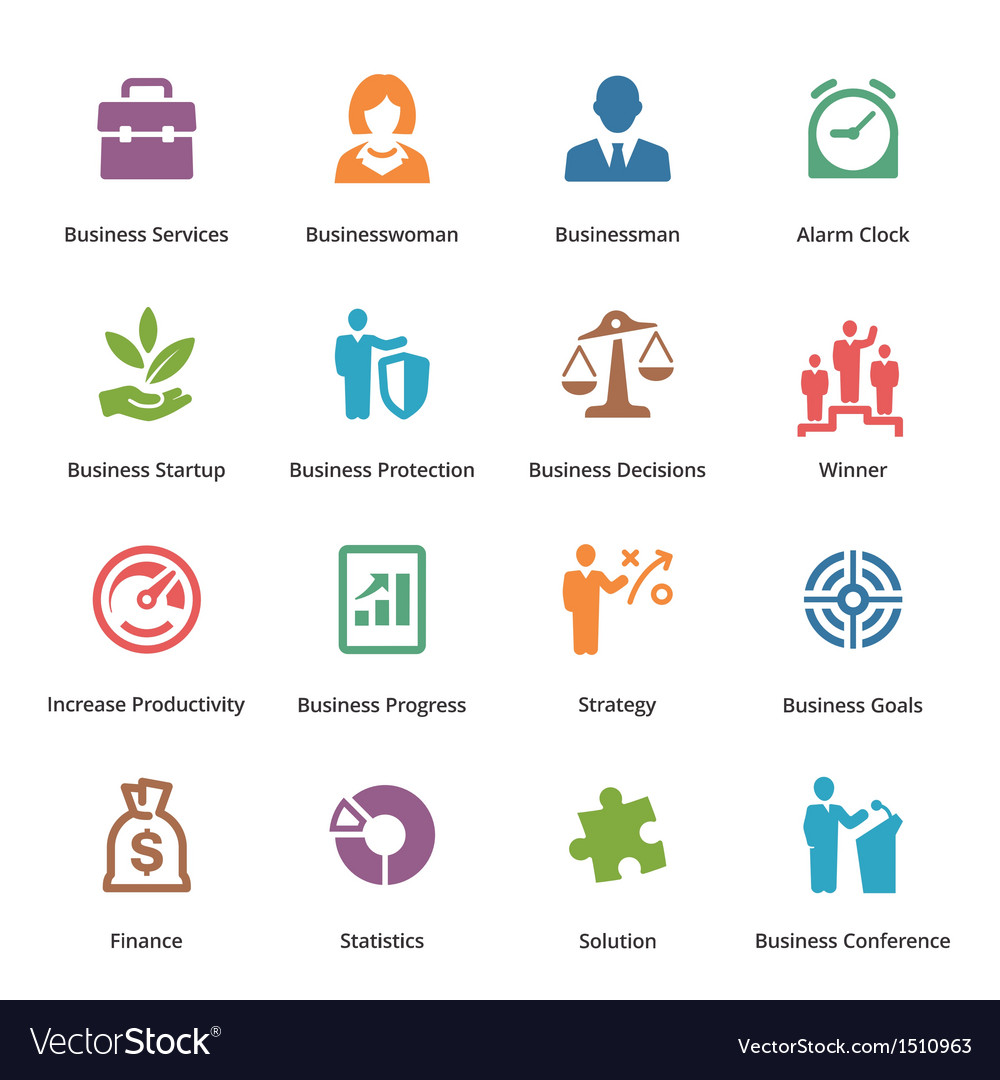 Business icons set 1  colored series vector