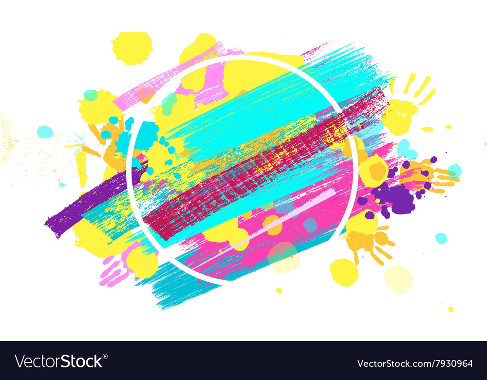 Big circle frame made of colored handprints vector
